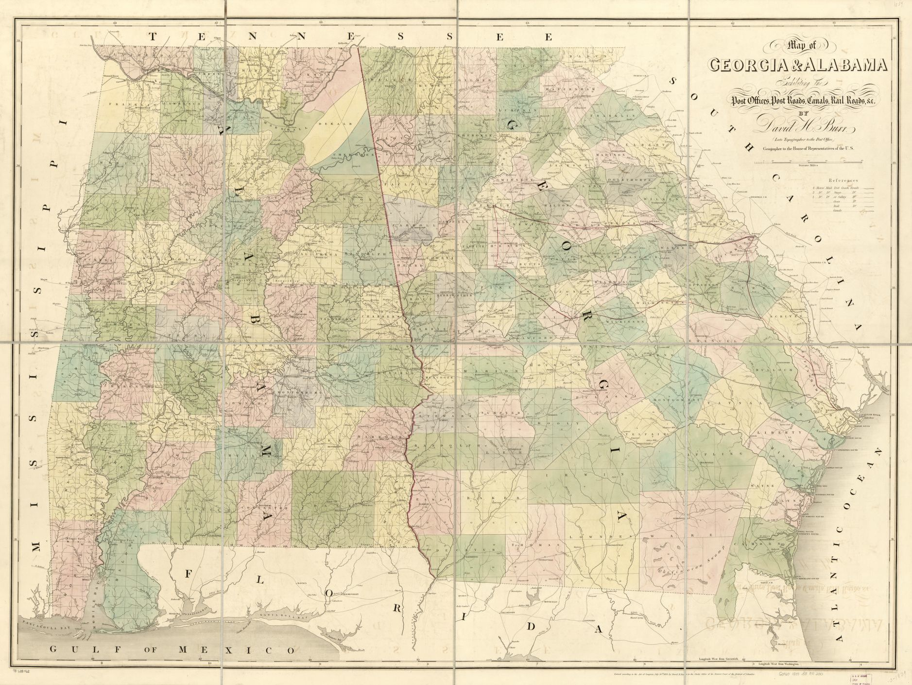 Map of Georgia & Alabama exhibiting the post offices, post roads ...