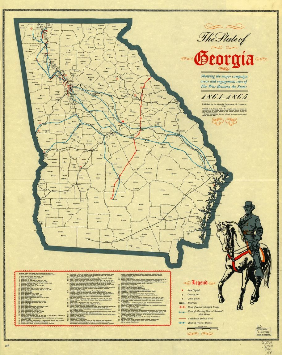 Map Of Georgia 1865.The State Of Georgia Showing The Major Campaign Areas And