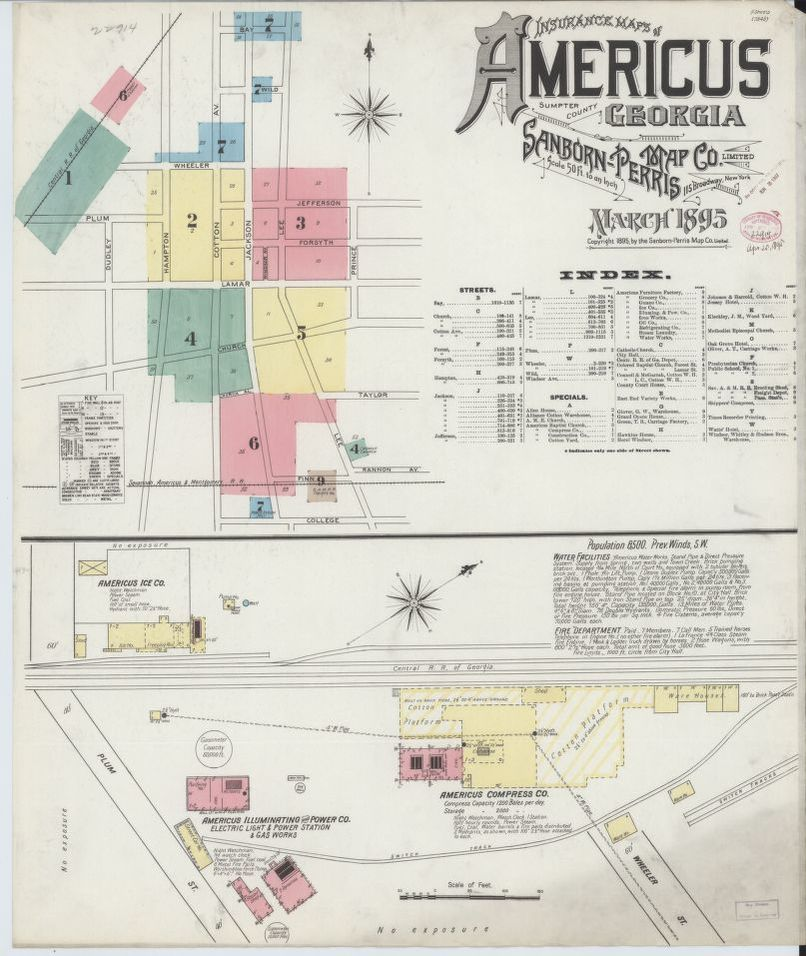 Sanborn Fire Insurance Map From Americus Sumter County