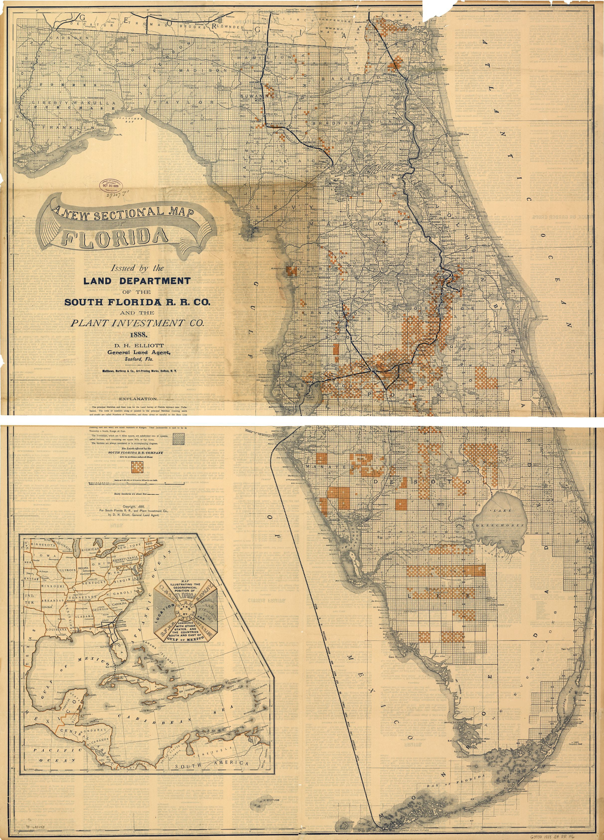 Florida Railroad Map.Railroad Maps 1828 To 1900 Florida Library Of Congress