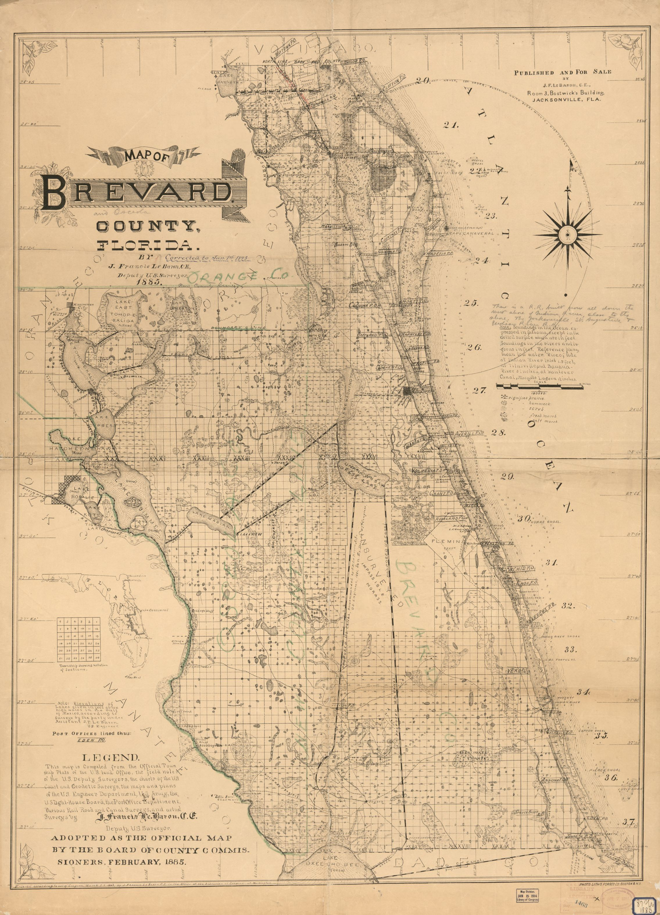 Map Of Brevard County Florida Library Of Congress