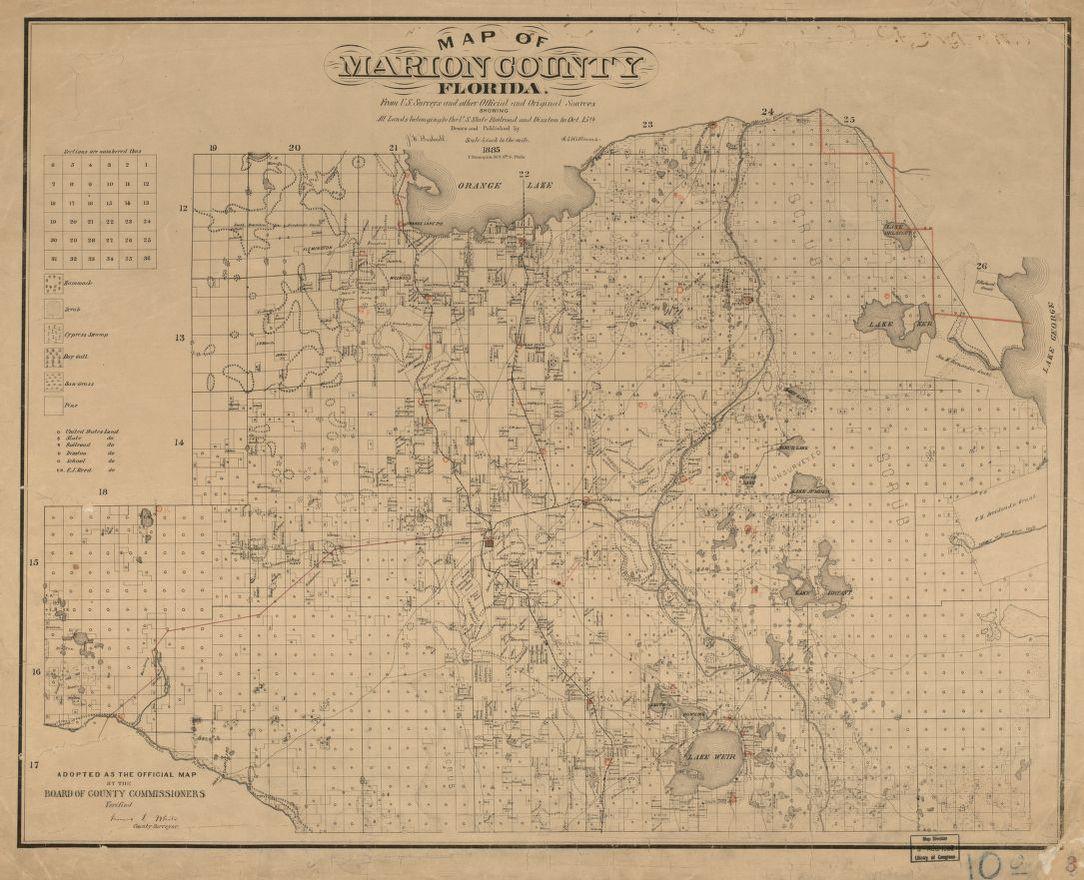Marion County Florida Map.Map Of Marion County Florida From U S Surveys And Other Official