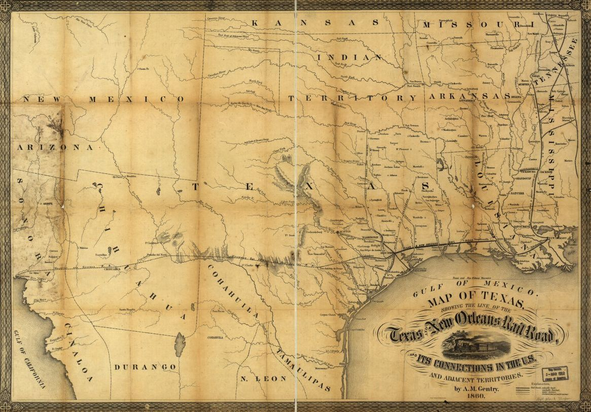 Map Of Texas In 1800.Map Of Texas Showing The Line Of The Texas And New Orleans Rail