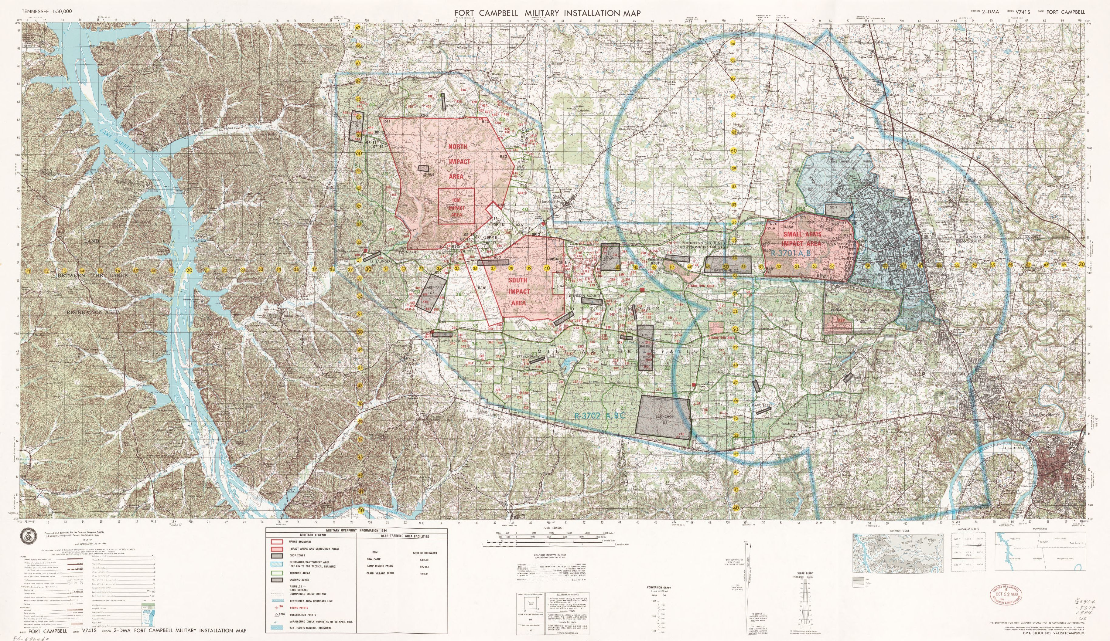 Tennessee 1:50,000. Fort Campbell military installation map ...