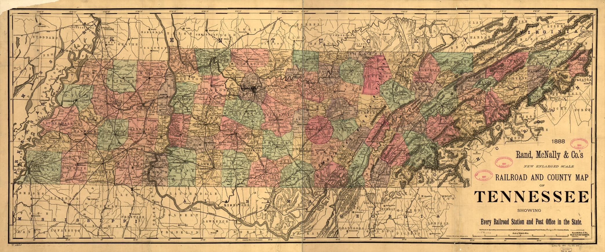 New enlarged scale railroad and county map of Tennessee ...