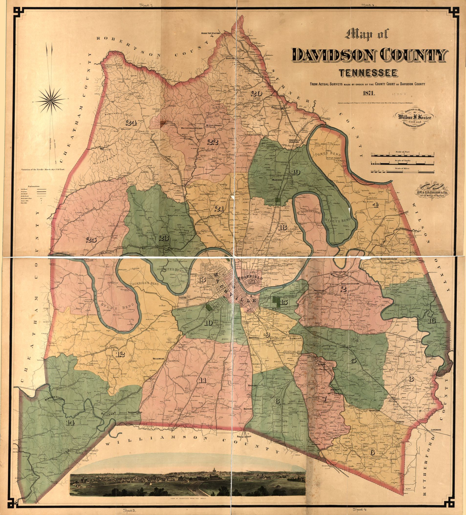 Map of Davidson County Tennessee, from actual surveys made by order ...
