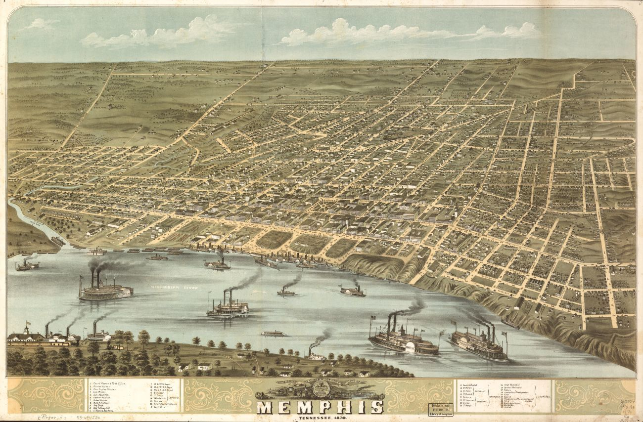 Bird\'s eye view of the city of Memphis, Tennessee 1870 ...
