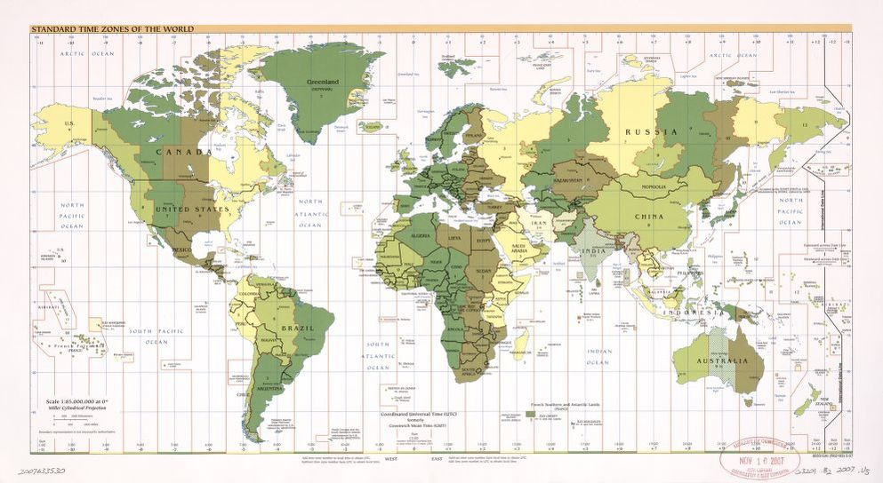 Standard time zones of the world. | Library of Congress