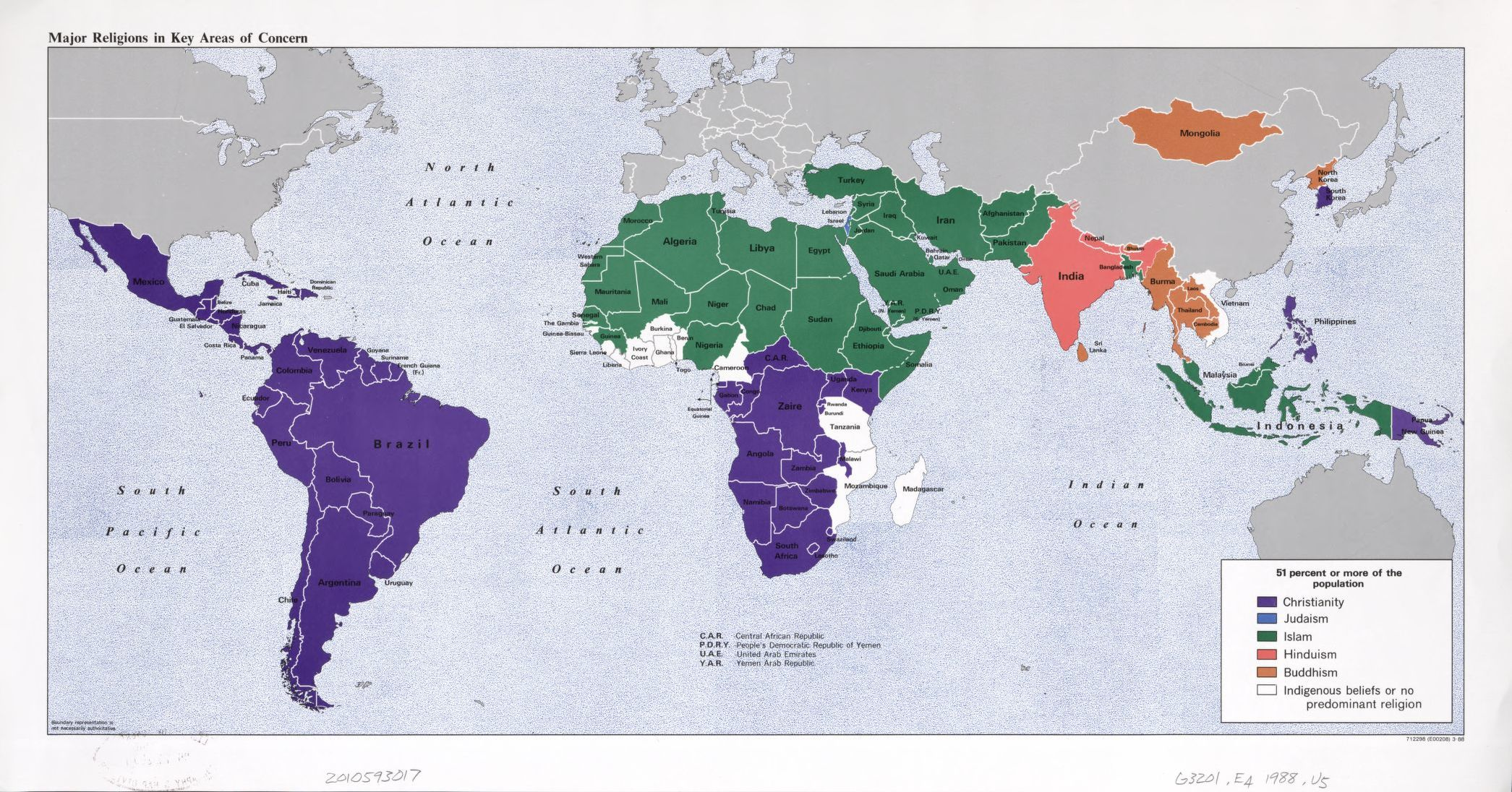 Distribution of religions Arab countries – Map Arab Countries