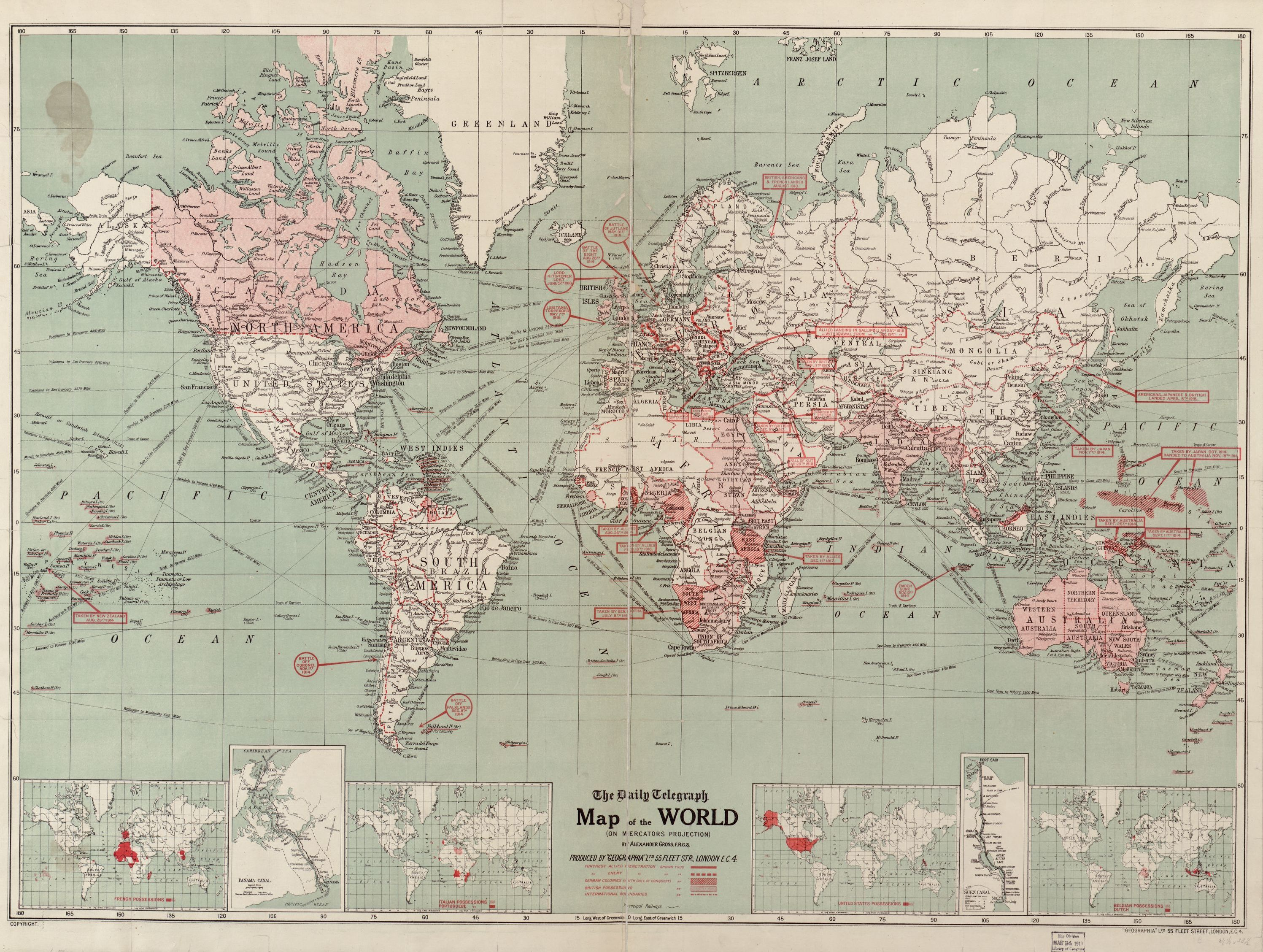 The Daily Telegraph Map Of The World On Mercators Projection - Pink world map poster