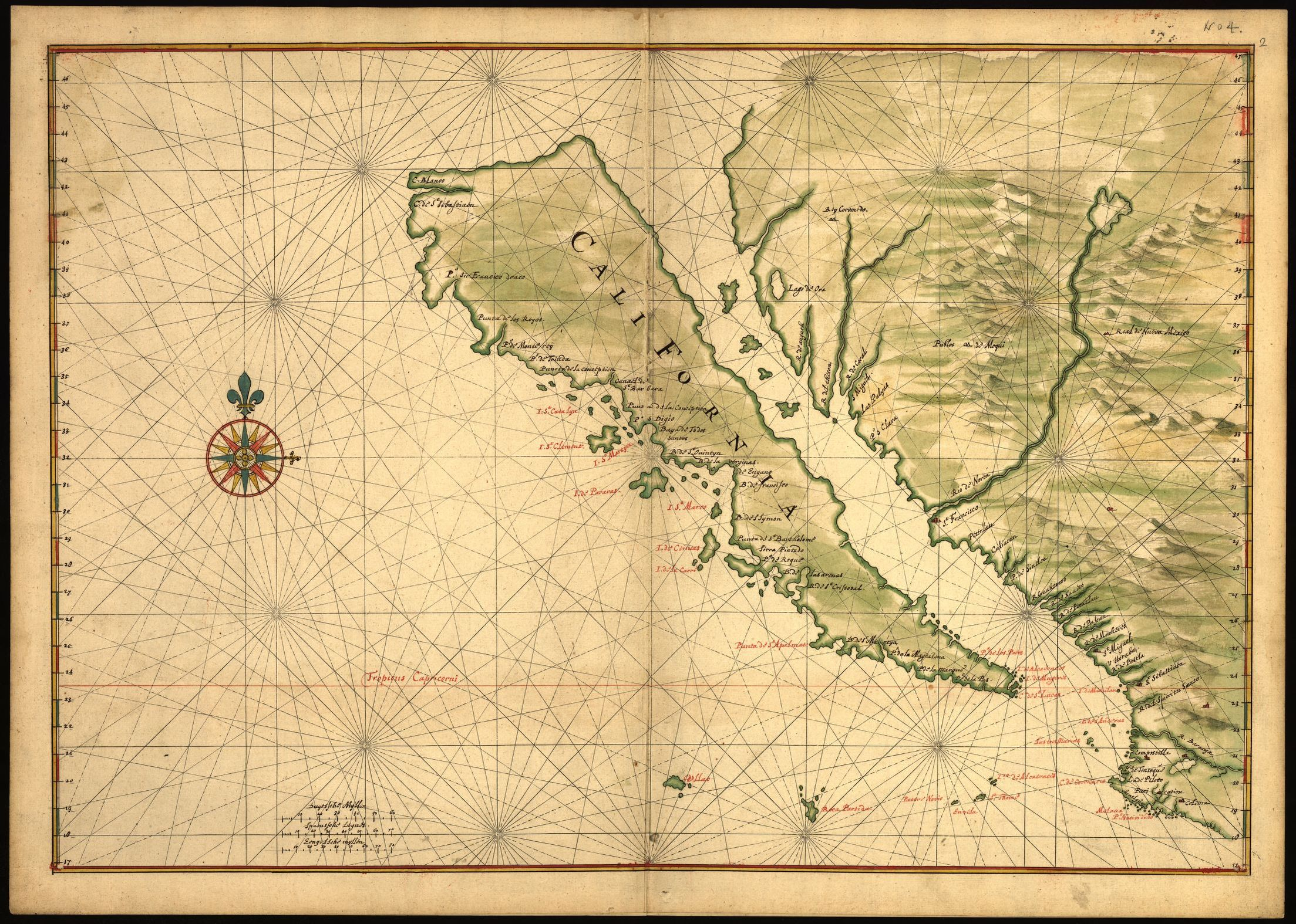 Joan Vinckeboons: Mapa de California (como una isla). Library of Congress.