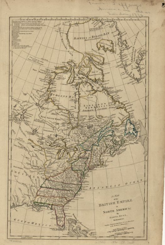 A map of the British Empire in North America