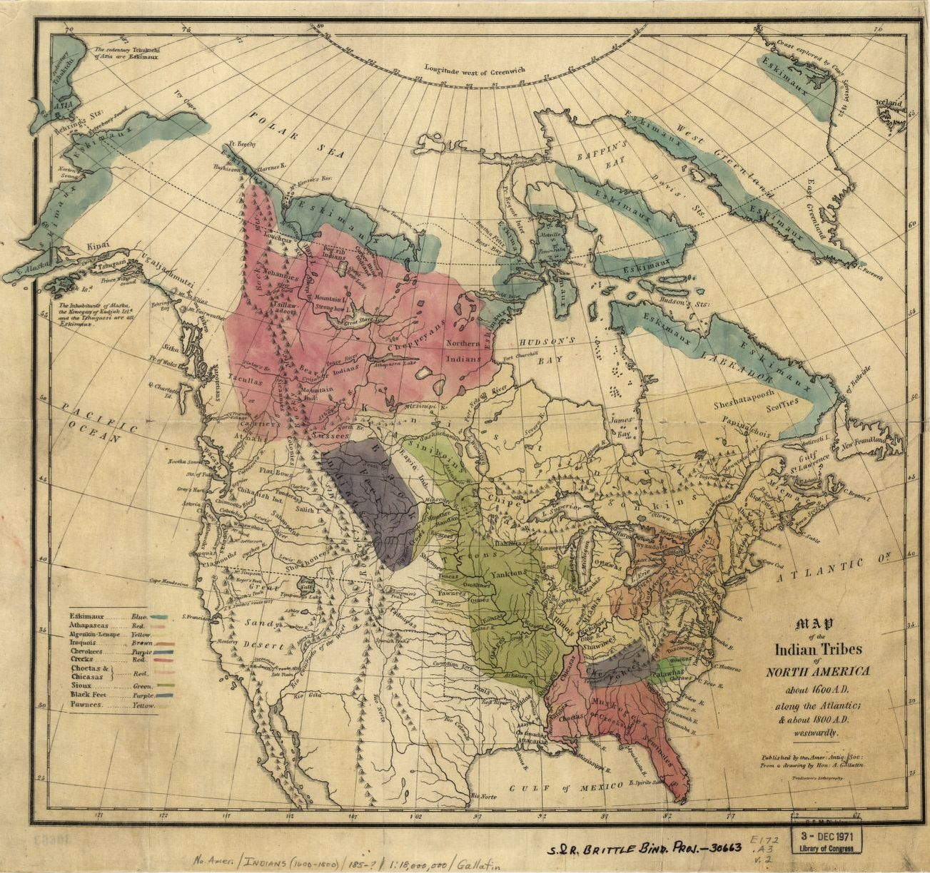 Native American Map Before Colonization.Map Of The Indian Tribes Of North America About 1600 A D Along The