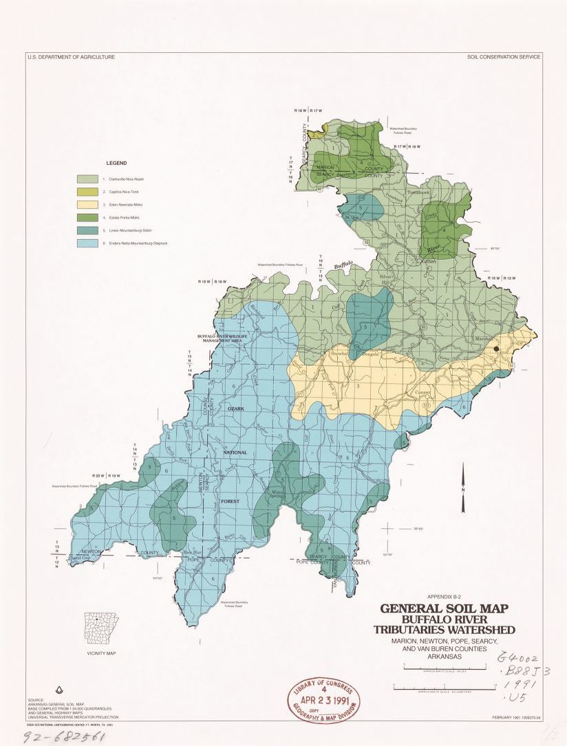 General soil map, Buffalo River tributaries watershed : Marion ...
