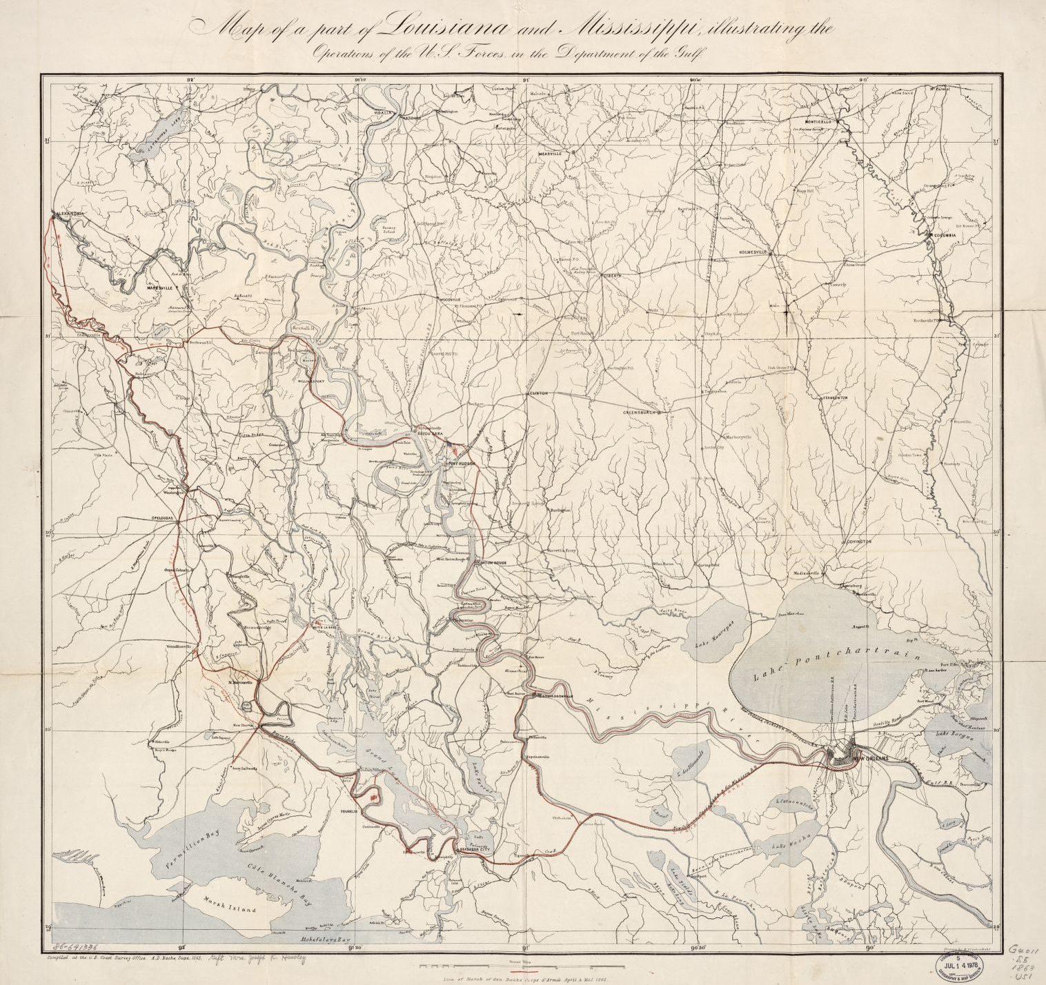 Map Of A Part Of Louisiana And Mississippi Illustrating The