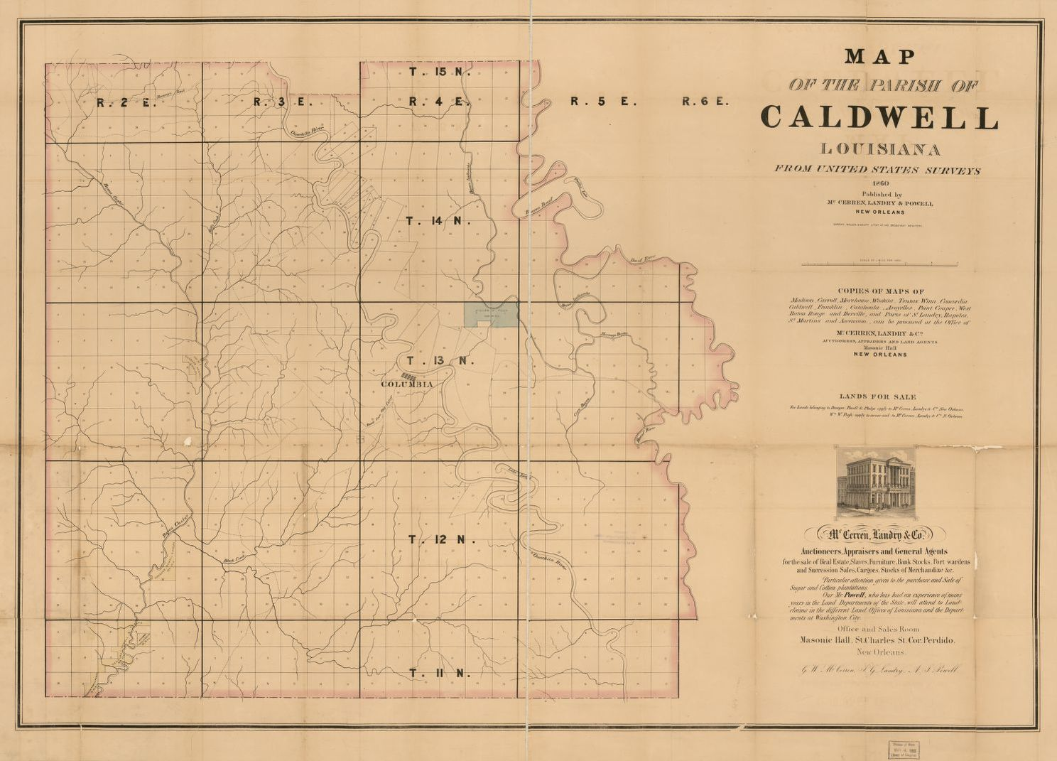 United States Map New Orleans.Map Of The Parish Of Caldwell Louisiana From United States