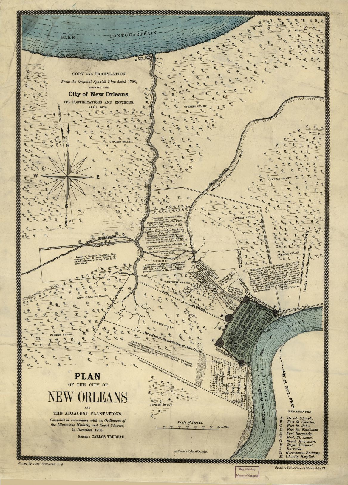 Plan of the City of New Orleans and adjacent plantations ...