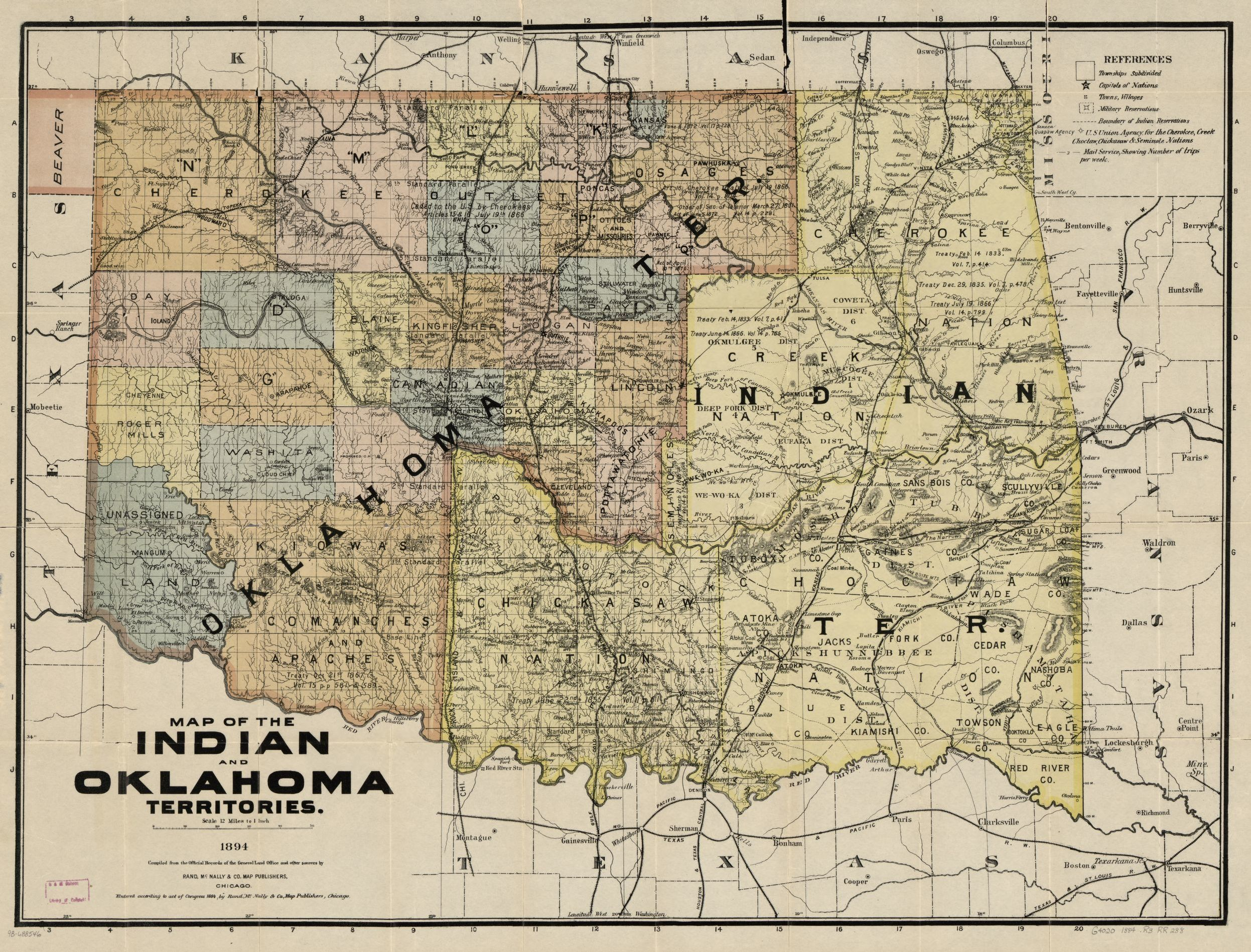 map of the indian and oklahoma territories 1894 compiled from the official records of the general land office and other sources library of congress