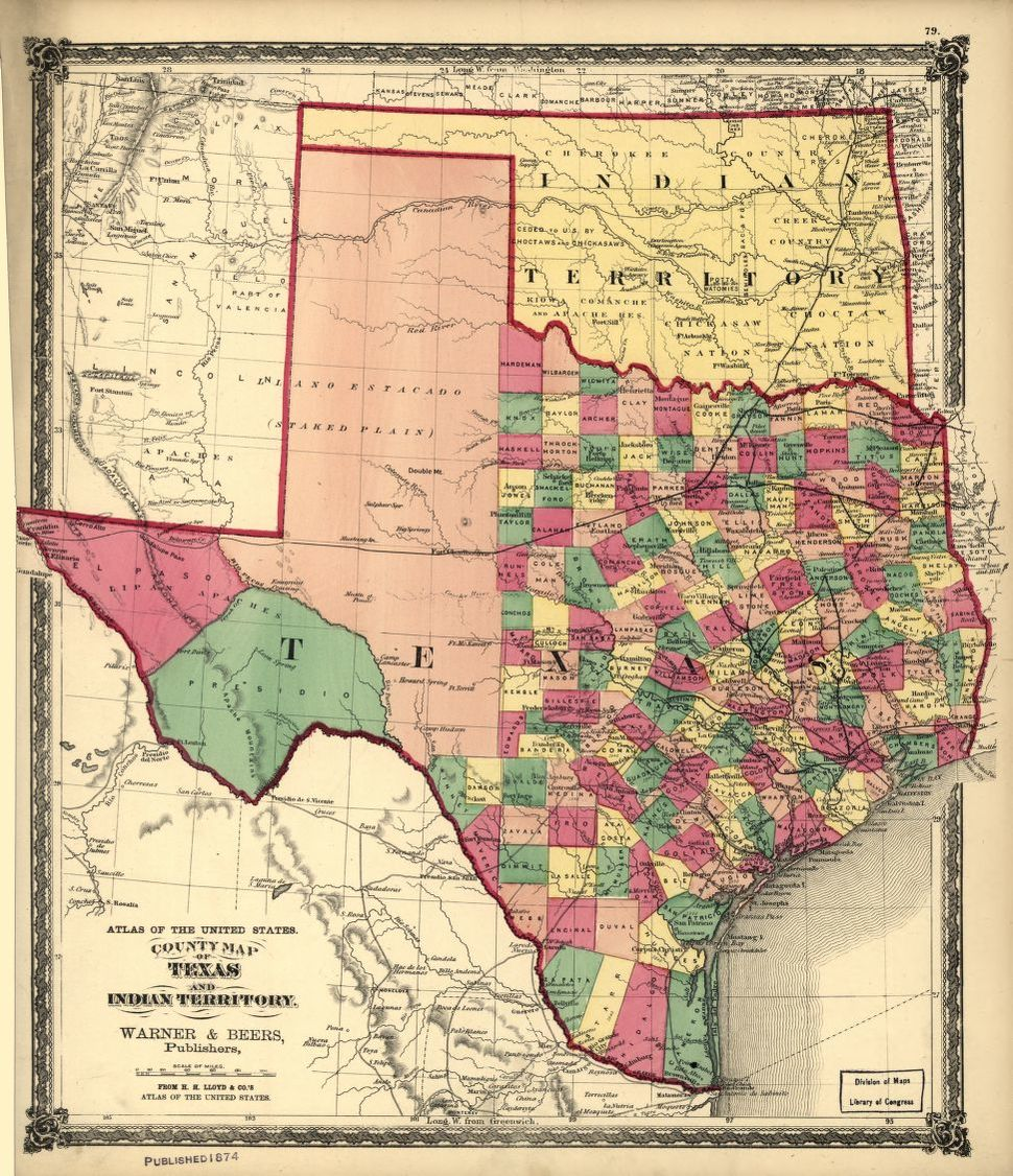 County map of Texas, and Indian Territory. | Liry of Congress on united states and its territories, united states overseas territories, map of puerto rico, map of usa with state boundaries, map of the first 16 states, map of norway territories, number of us territories, map with capitals of australia, map of us sales, map of missouri and bordering states, map of israel territories, us map territories, map of ancient roman territories, map of usa in 1783, map of us in late 1800s, map of colonial territories, map of mexico, map of u.s. possessions, map united states 1890, map of cherokee territories,