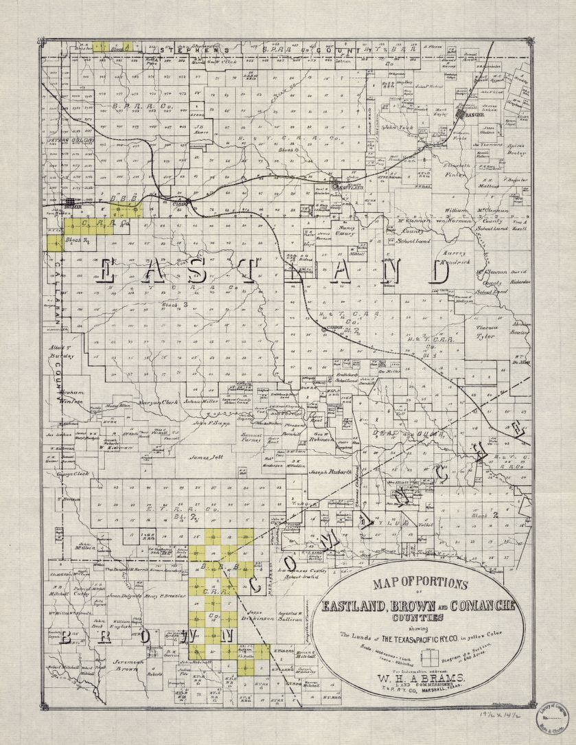 Map Of Portions Of Eastland Brown And Comanche Counties
