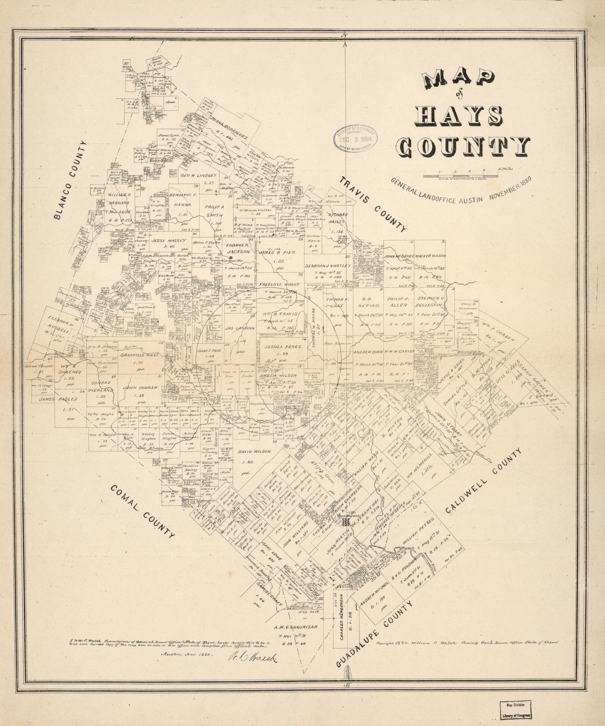 Map Of Hays County, Texas