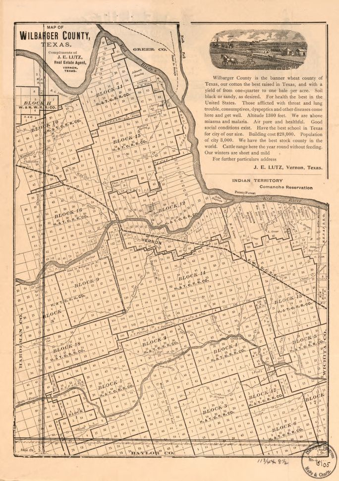 Map of Wilbarger County, Texas | Library of Congress
