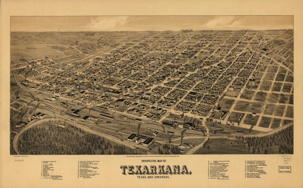 Perspective Map Of Texarkana Texas And Arkansas Library Of Congress
