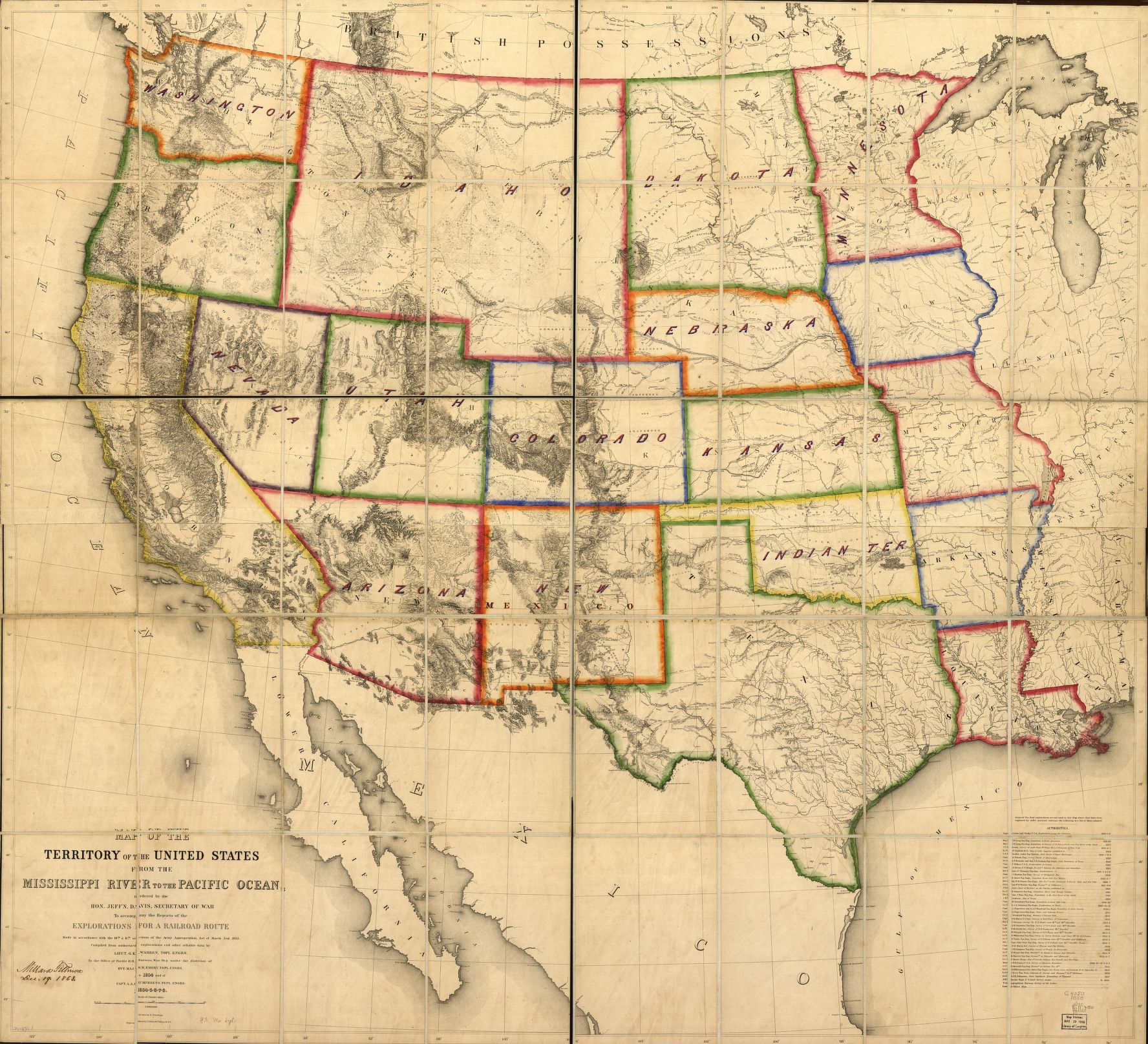 Map Of The Territory Of The United States From The Mississippi River - Railroad-us-map