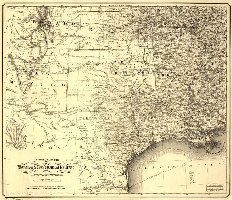 Railroad Map Of Texas.Map Showing The Houston Texas Central Railroad And Its Connections