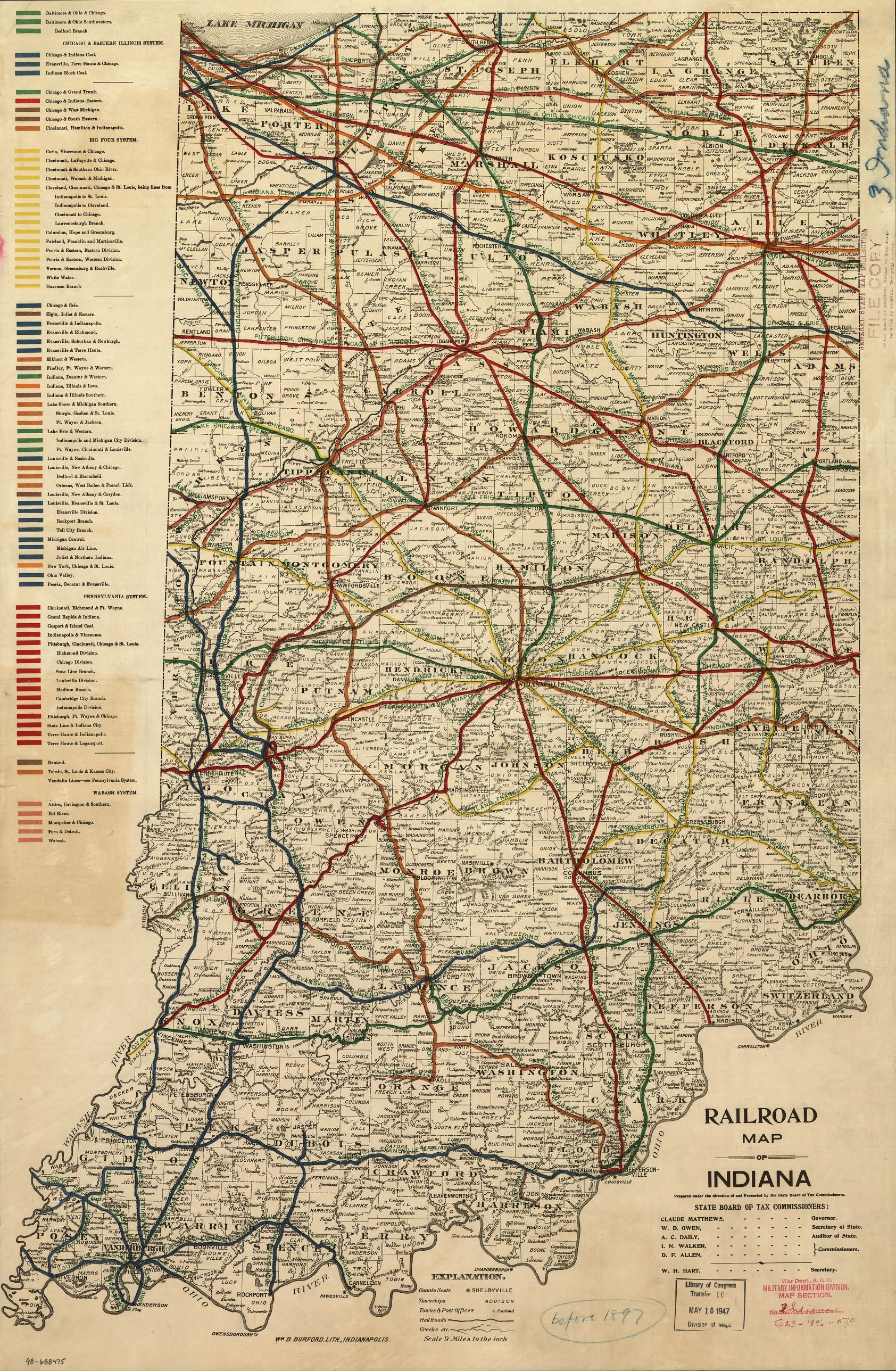 Railroad map of Indiana. | Liry of Congress on missouri map, nevada map, california map, fort wayne map, maine map, florida map, state map, texas map, wisconsin map, montana map, hawaii map, new jersey map, illinois map, louisiana map, iowa map, ohio map, mississippi map, north dakota map, tennessee map, michigan map, usa map, minnesota map, idaho map, maryland map, kentucky map, colorado map, arizona map, kansas map,