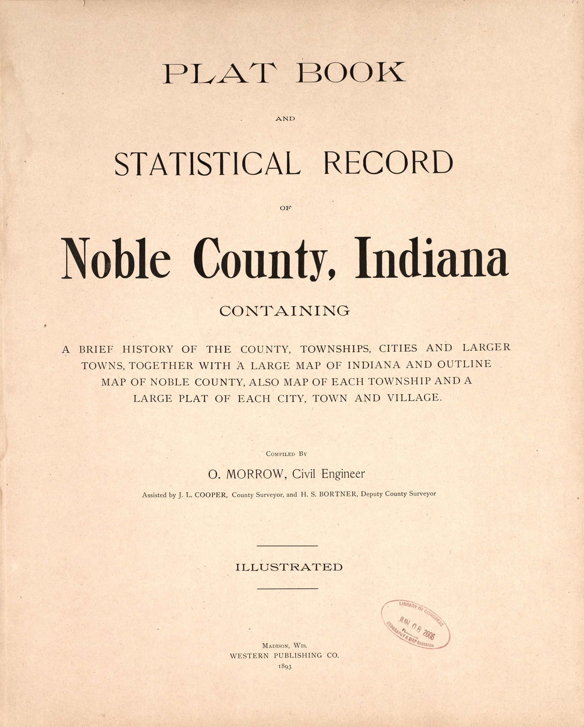 Map, Plat book and statistical record of Noble County, Indiana ...