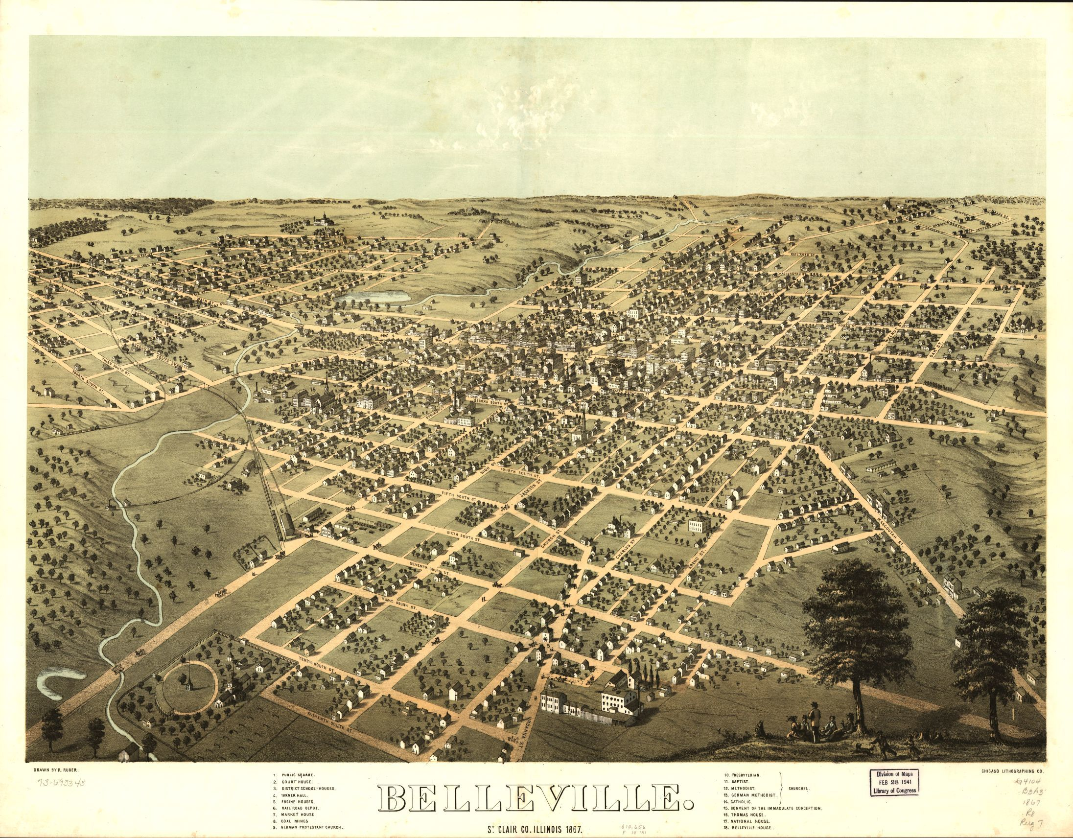 Belleville, St. Clair Co., Illinois 1867. | Liry of Congress on