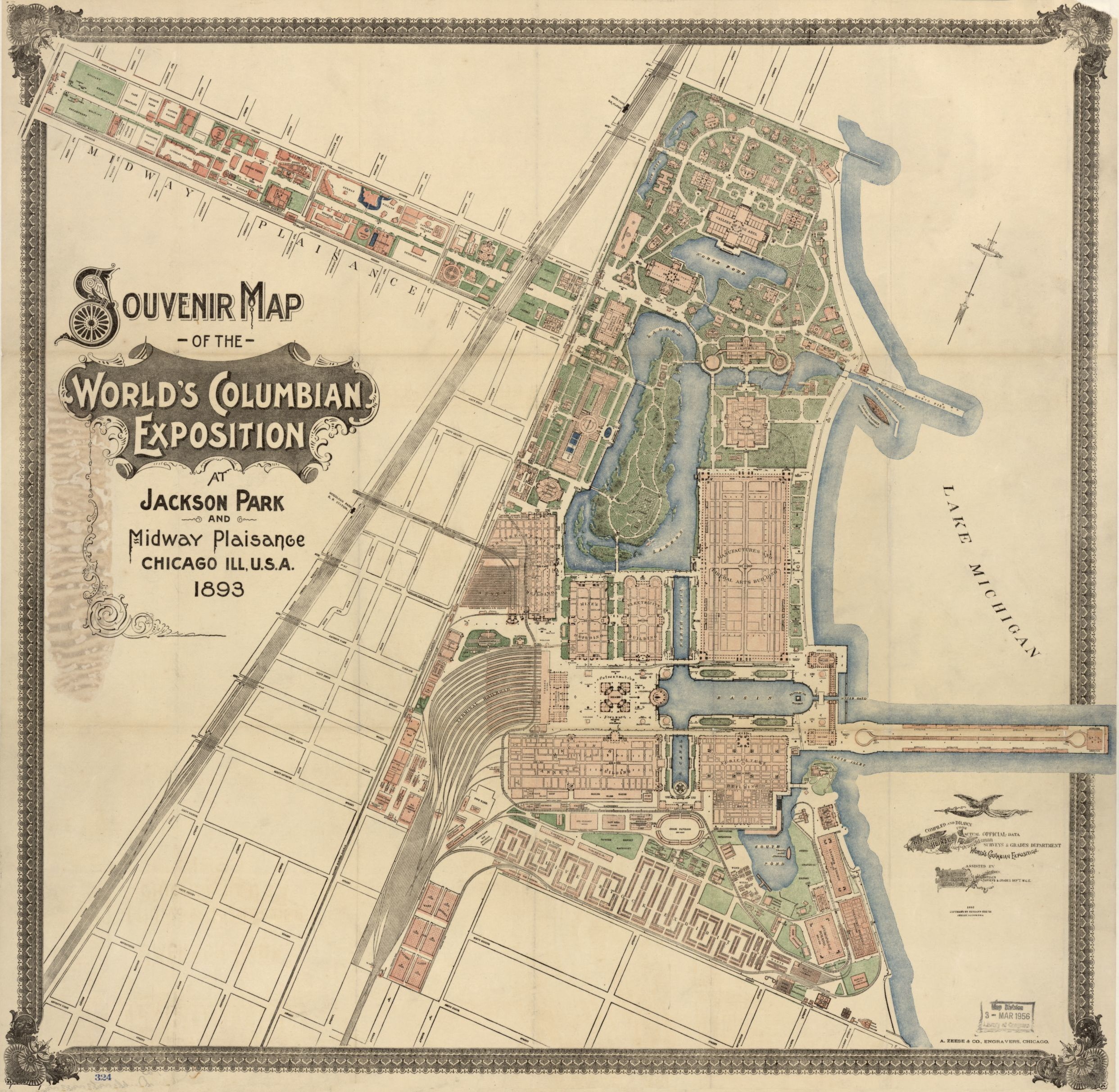 Souvenir map of the Worlds Columbian Exposition at Jackson Park and