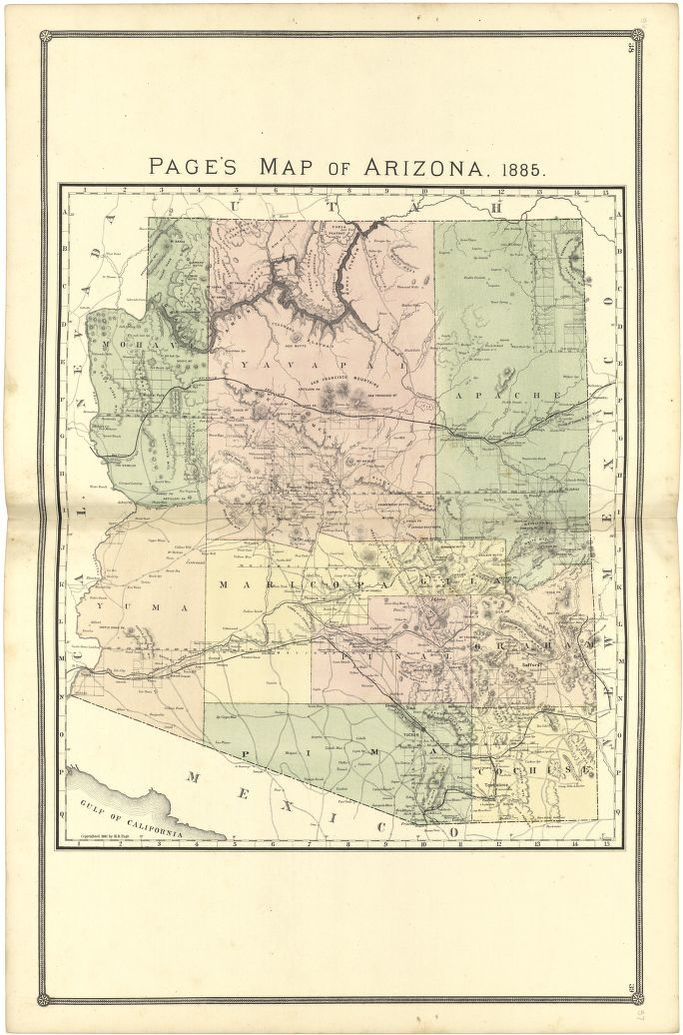 Page\'s Map of Arizona, 1885 | Library of Congress