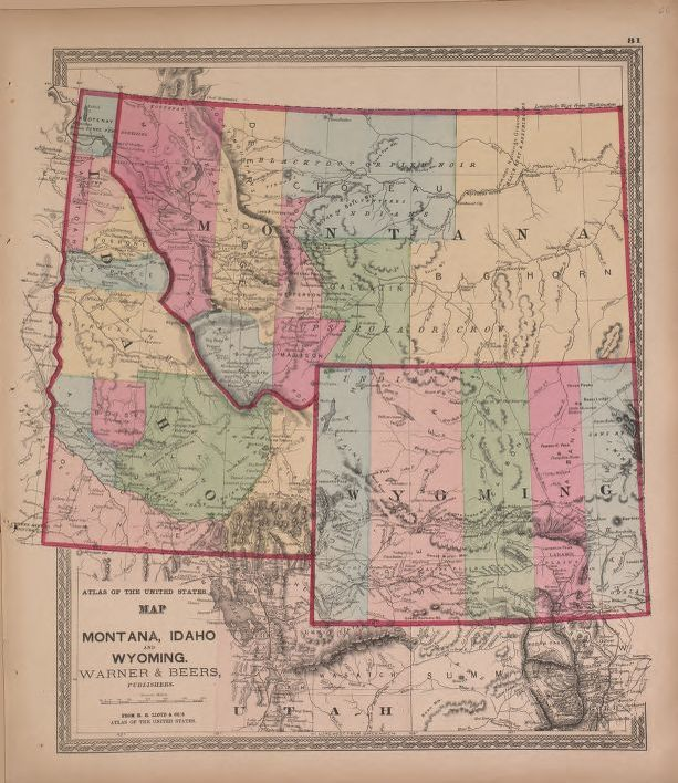 Map Of Montana Idaho And Wyoming Warner And Beers