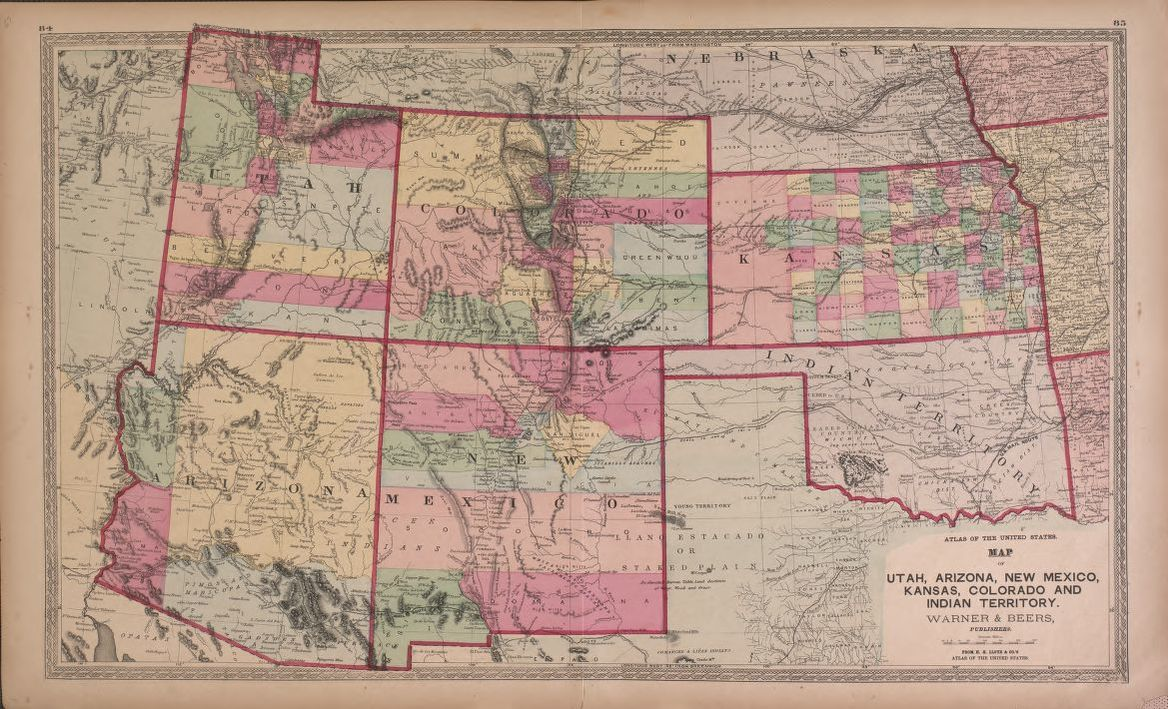 Map of Utah, Arizona, New Mexico, Knasas, Colorado | Library of Congress