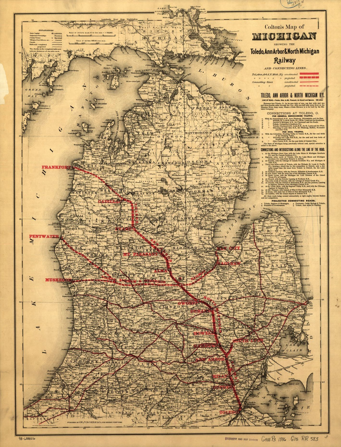 map of michigan showing the toledo ann arbor north michigan railway and connecting lines library of congress library of congress
