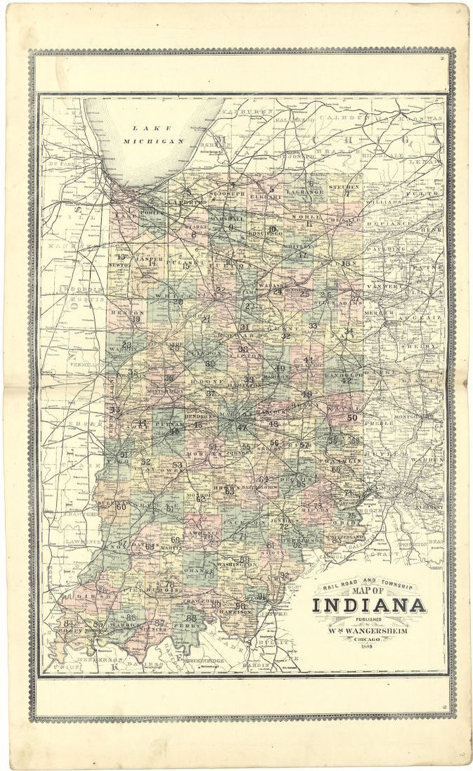 Railroad and Township Map of Indiana | Library of Congress