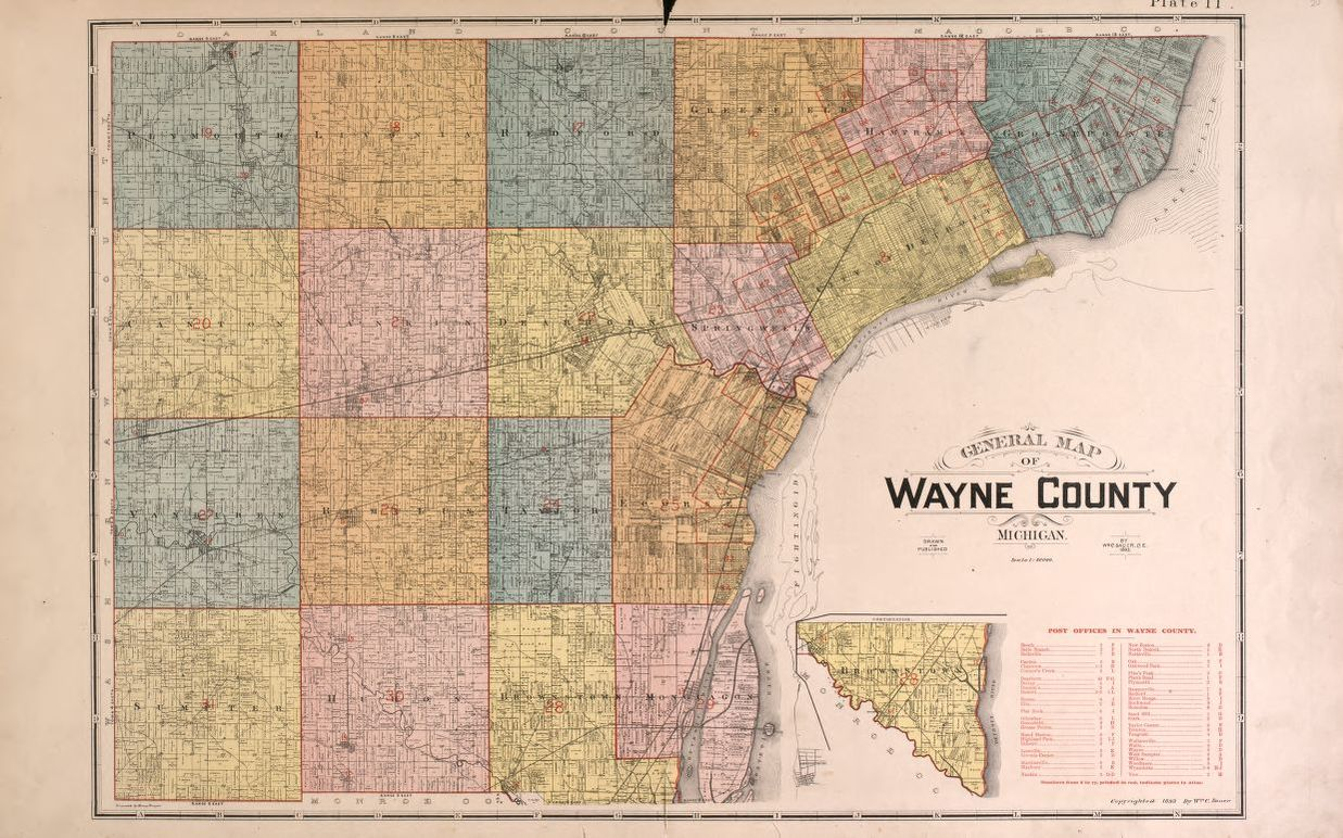 Map, Available Online, Detailed official atlas of Wayne