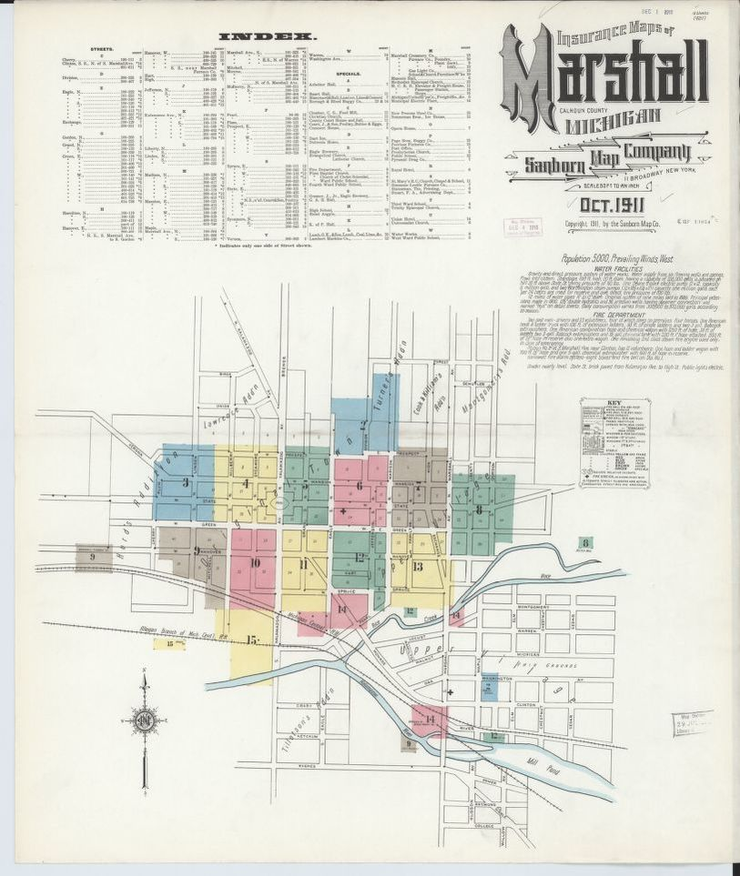 Sanborn Fire Insurance Map from Marshall, Calhoun County, Michigan on