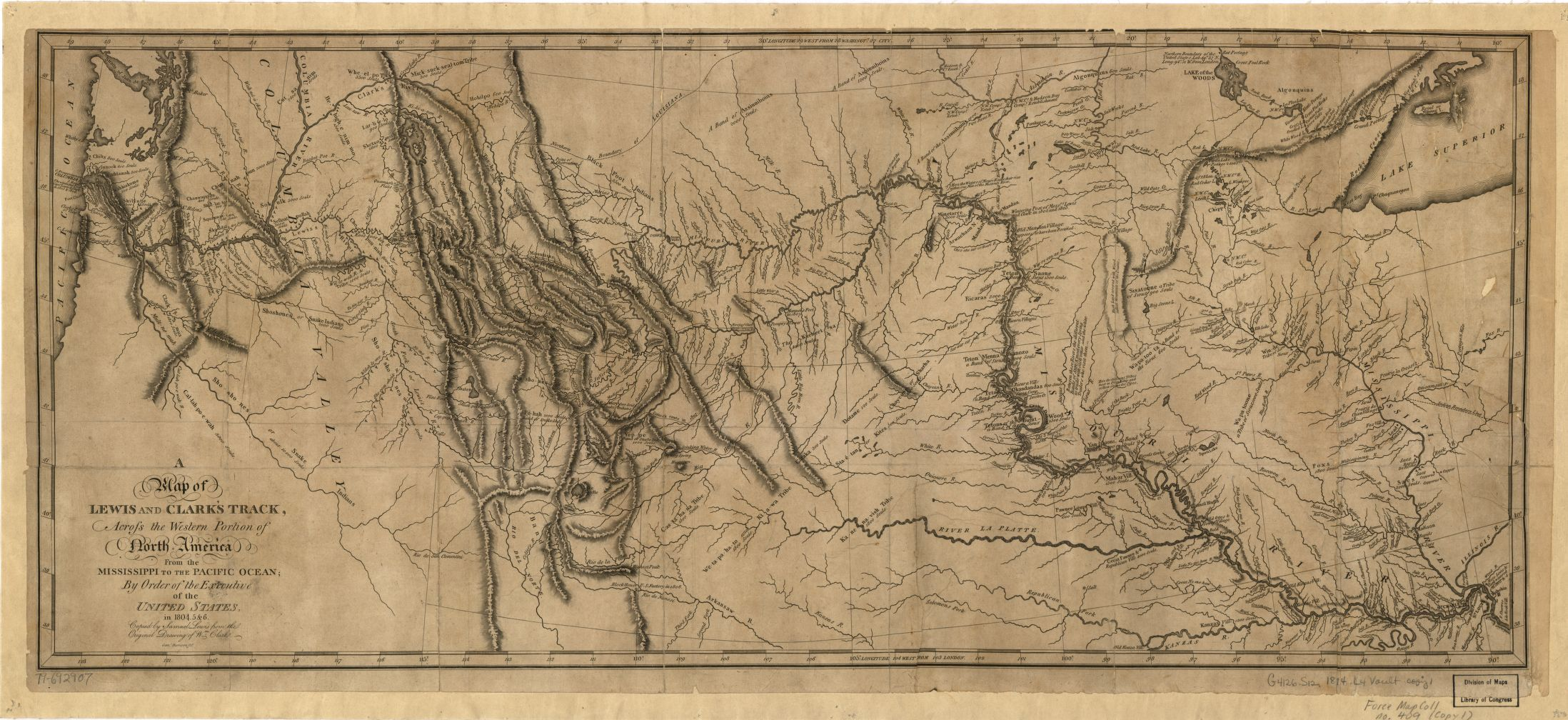 Picture of: A Map Of Lewis And Clark S Track Across The Western Portion Of North America From The Mississippi To The Pacific Ocean By Order Of The Executive Of The United States In
