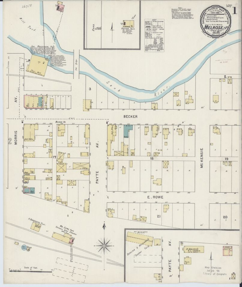 Sanborn Fire Insurance Map From Melrose Stearns County Minnesota