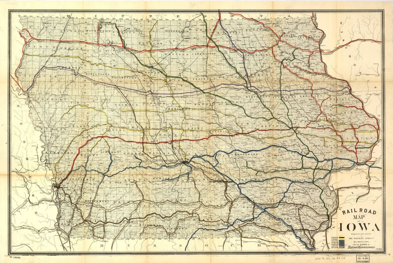 Railroad map of Iowa. | Liry of Congress on