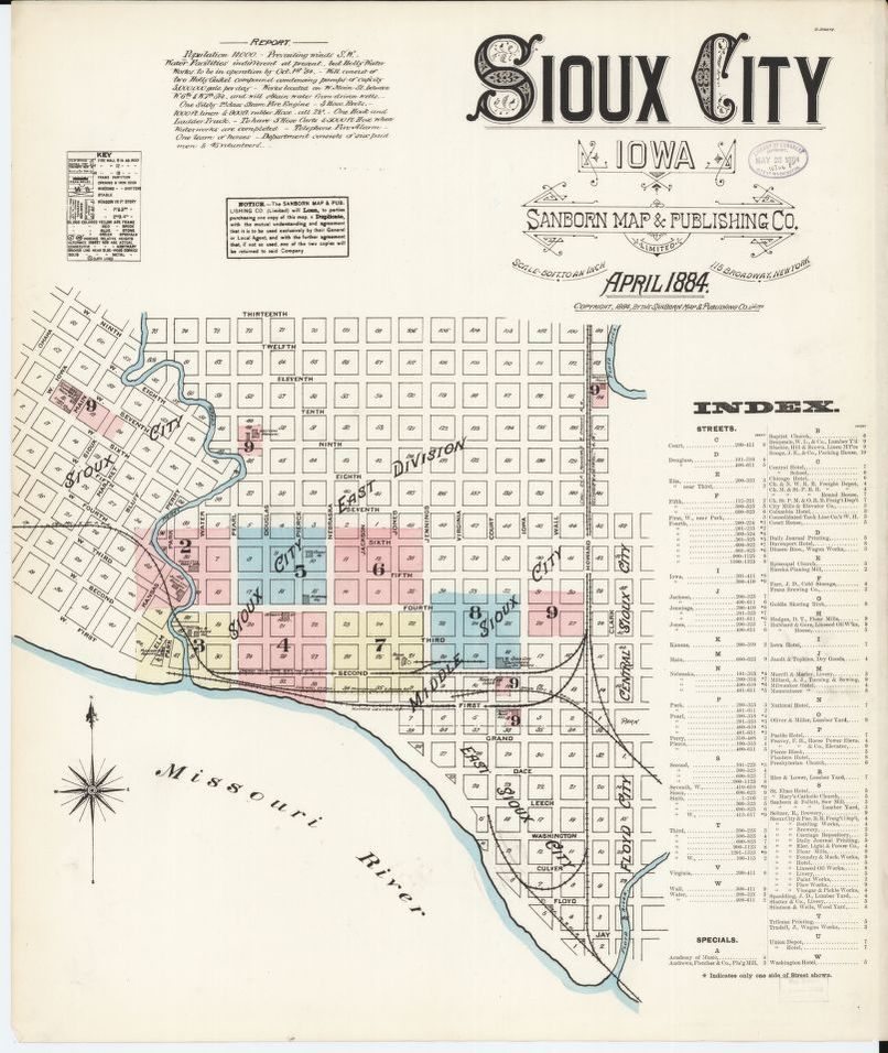 Sanborn Fire Insurance Map from Sioux City, Woodbury County ... on rock valley map, sioux county map, omaha nation map, iowa map, johnson county map, carroll map, lake charles map, missouri valley map, new york university campus map, council bluffs map, beckley map, quad city area map, des moines metropolitan area map, bismarck map, bloomington map, laredo map, muscatine map, big sioux river map, fort wayne map, yankton map,