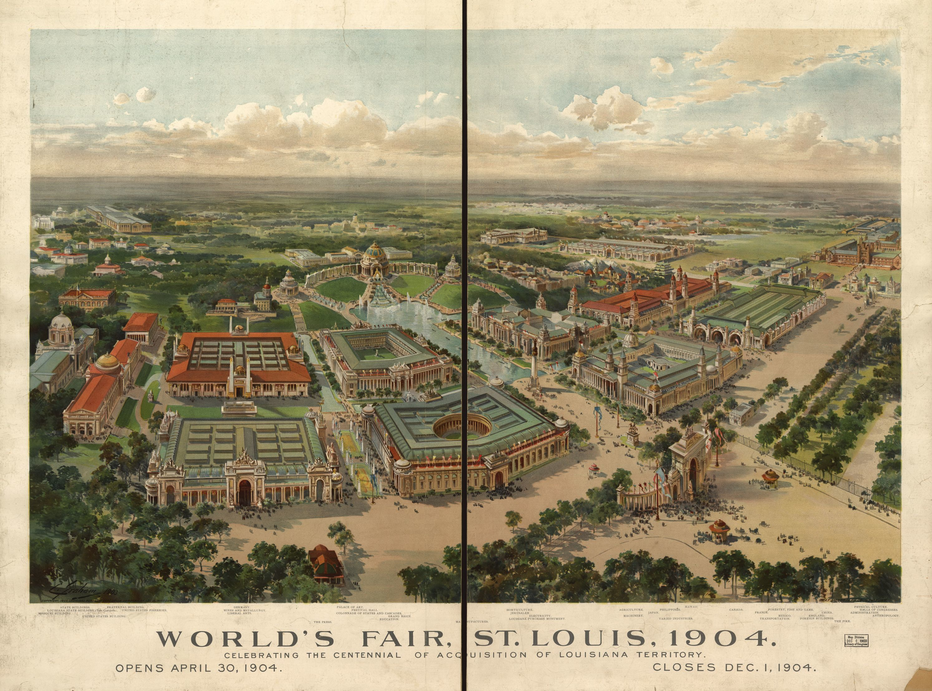 World's Fair, St Louis, 1904. | Liry of Congress on world cotton centennial map, ny world fair pavilion map, world fair site map, seattle center map,