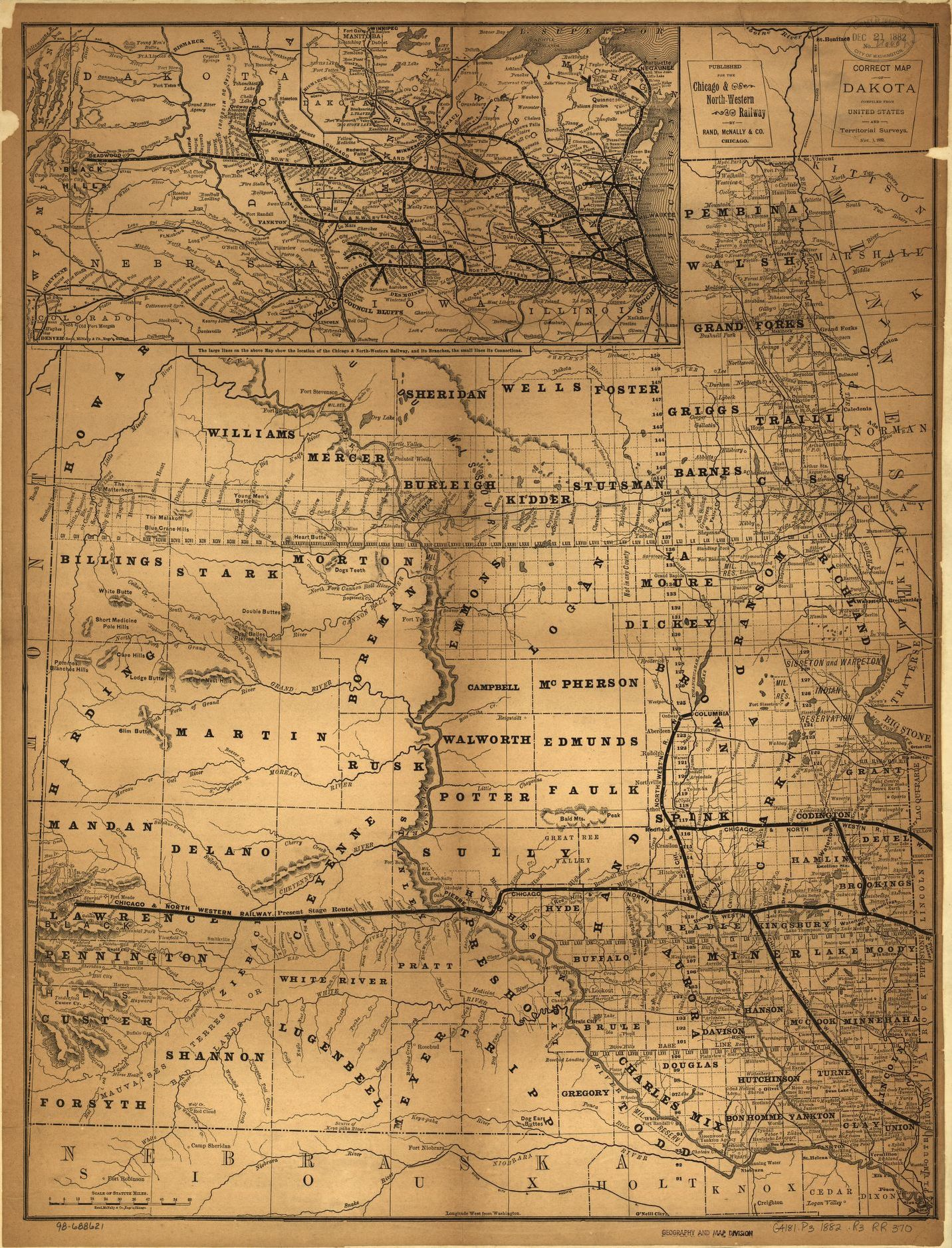 Railroad Maps 1828 to 1900 South Dakota Library of Congress