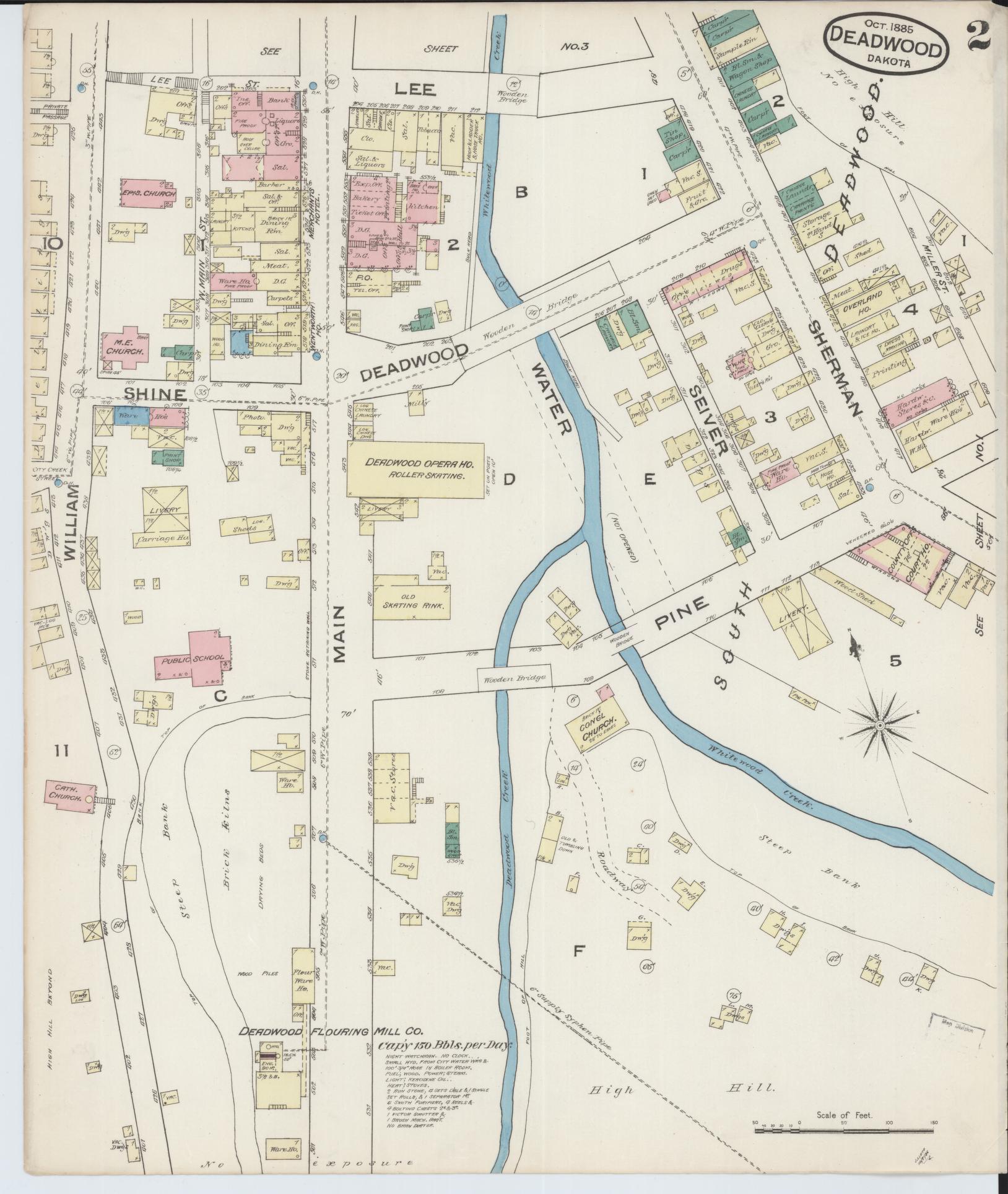 Map, 1880 to 1889, Sanborn Fire Insurance Map from Deadwood ... Deadwood Map on
