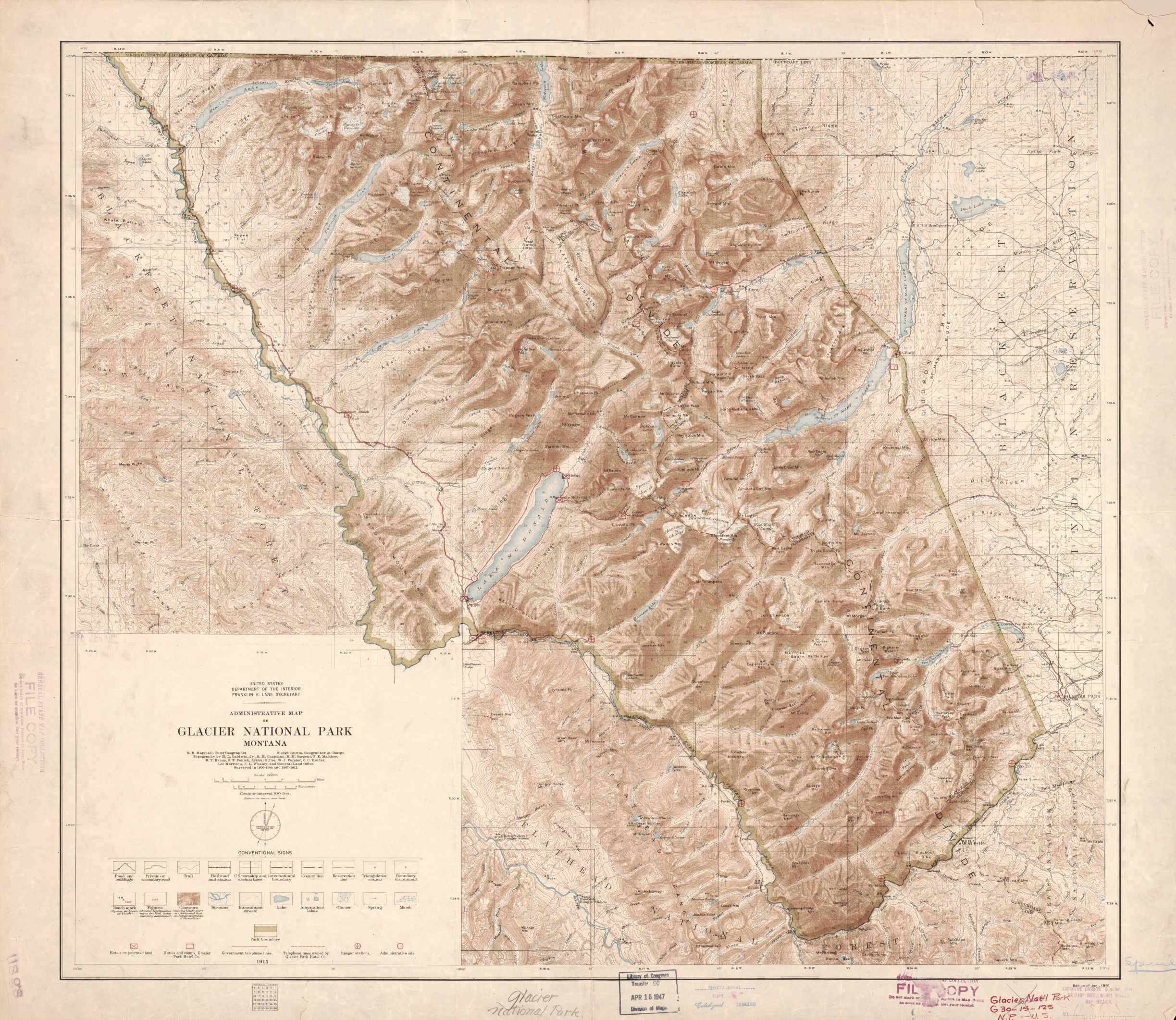 topographic map of glacier national park Administrative Map Of Glacier National Park Montana Library Of