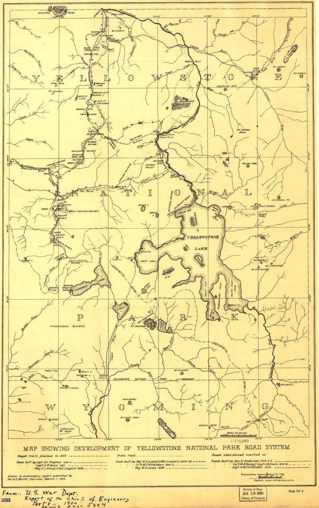 Map showing development of Yellowstone National Park road system