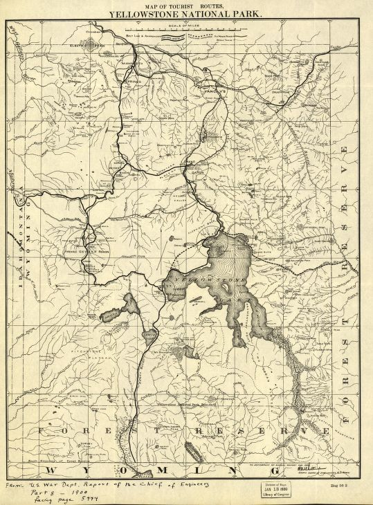 Map of the tourist routes, Yellowstone National Park ...